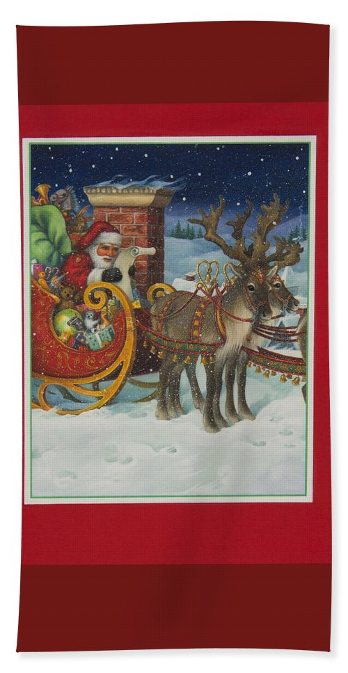 Santa Claus Bath Sheet featuring the painting The Christmas List by Lynn Bywaters