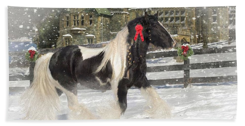 Christmas Bath Towel featuring the mixed media The Christmas Pony by Fran J Scott