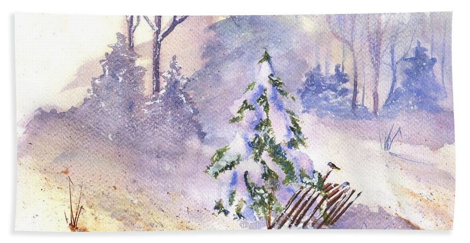 Landscape Hand Towel featuring the painting The Christmas Tree by Glenn Farrell