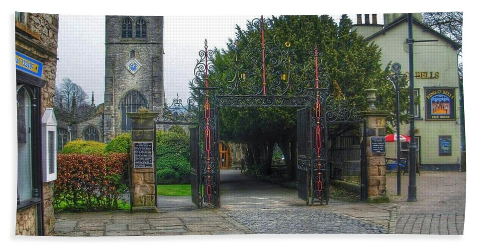 Kirklands Bath Sheet featuring the photograph The Church Gate At Kirklands In Kendal by Joan-Violet Stretch