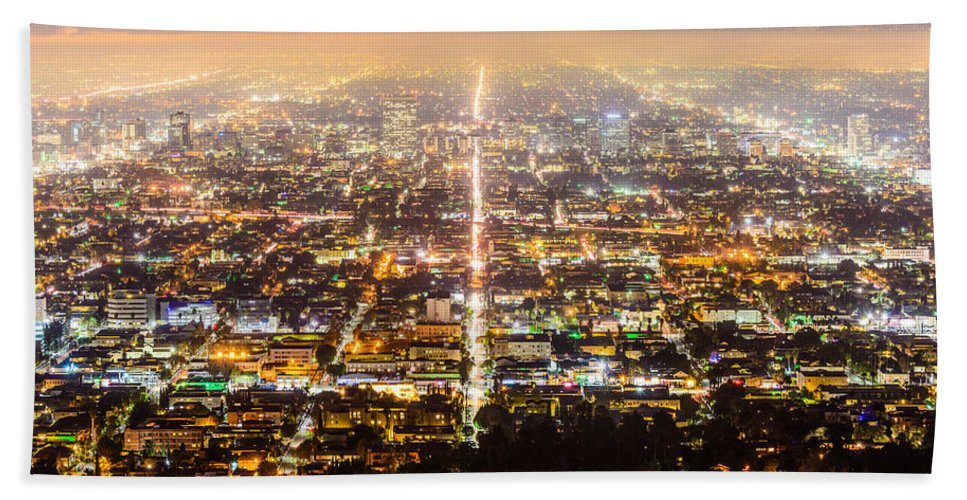 Los Angeles Hand Towel featuring the photograph The City Grid by Jason Chu