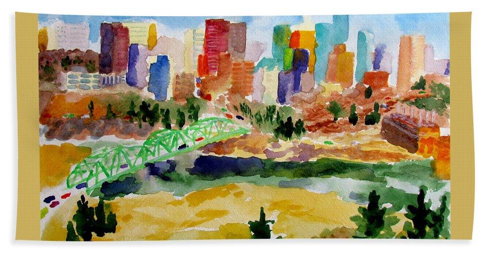City Hand Towel featuring the painting The City Skyline by Svetlana Troitskaia