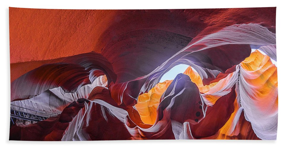 Antelope Canyon Hand Towel featuring the photograph The Climb by Jason Chu