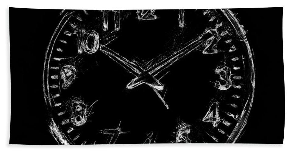 Clock Bath Sheet featuring the digital art The Clock by Nishanth Gopinathan