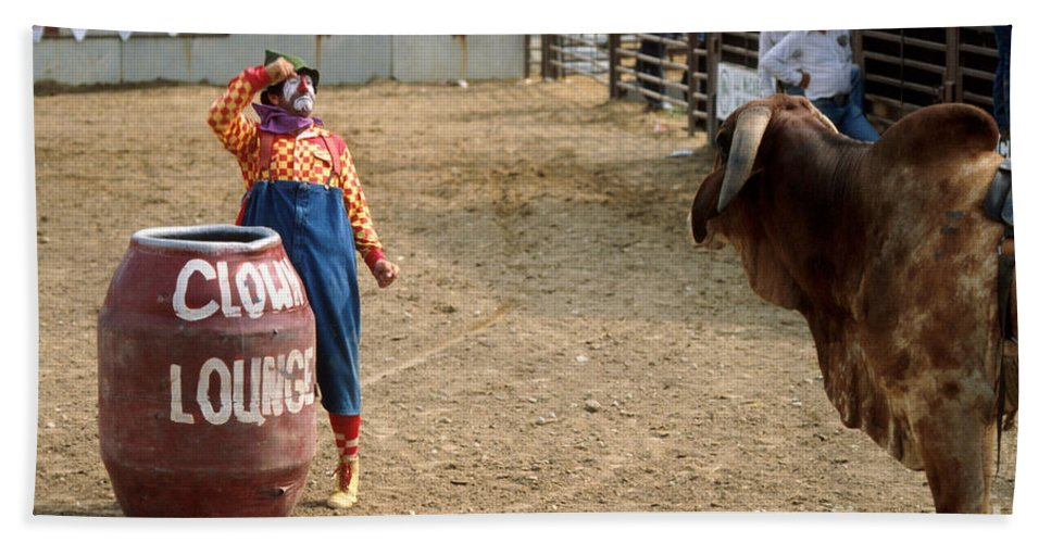 Rodeo Bath Sheet featuring the photograph The Clown by Jerry McElroy