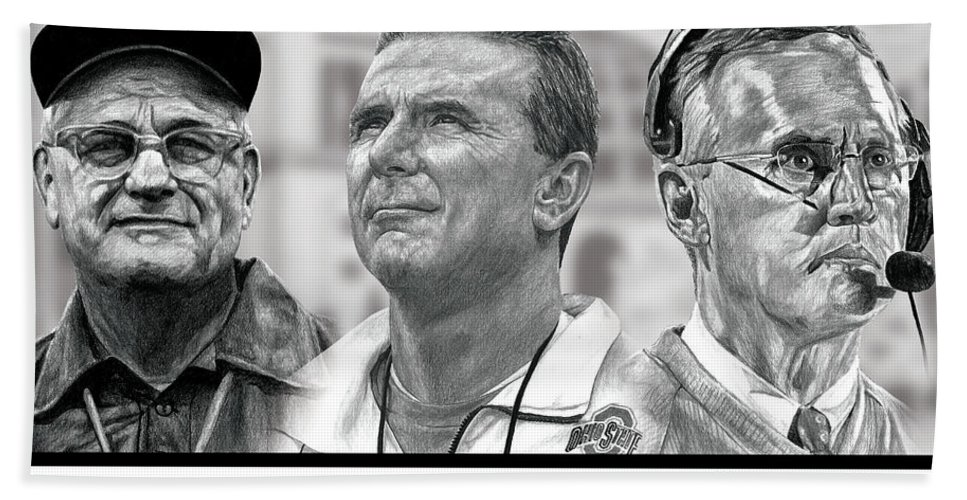 Ohio State Buckeyes Hand Towel featuring the digital art The Coaches by Bobby Shaw