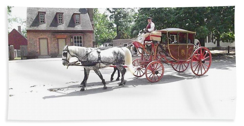 Carriage Bath Sheet featuring the digital art The Coachman by Barkley Simpson
