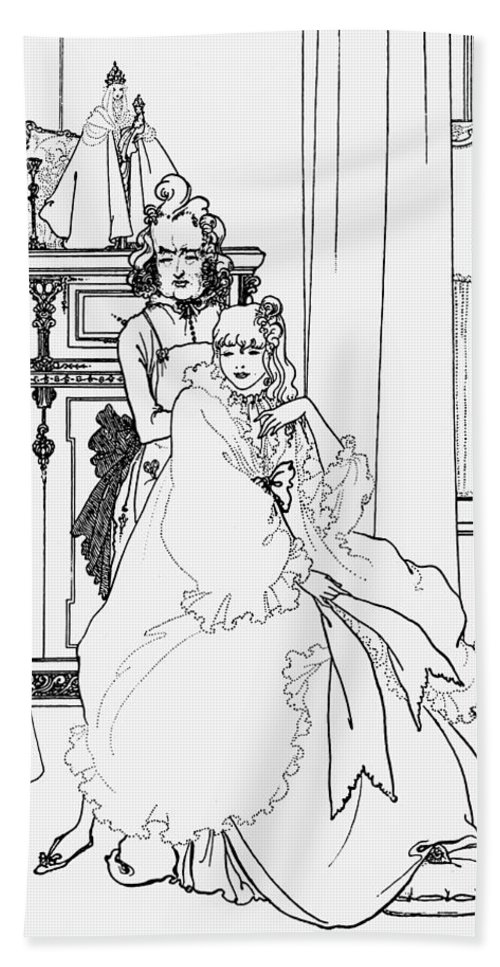 Aubrey Hand Towel featuring the drawing The Coiffing by Aubrey Beardsley