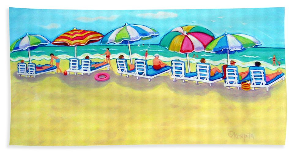 Colorful Beach Bath Sheet featuring the painting The Color Of Summer by Rebecca Korpita