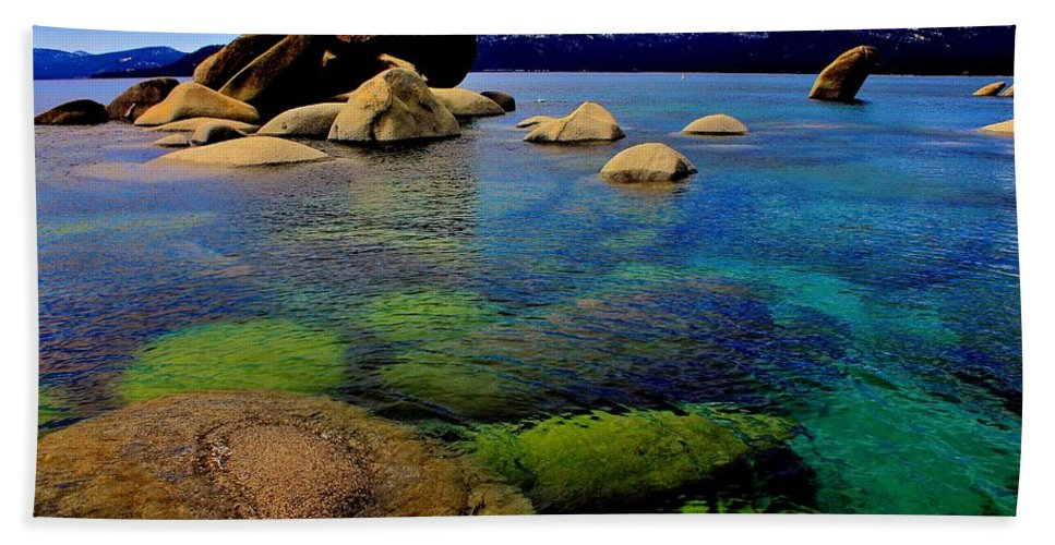 Blue Bath Sheet featuring the photograph The Colors Of Lake Tahoe by Benjamin Yeager
