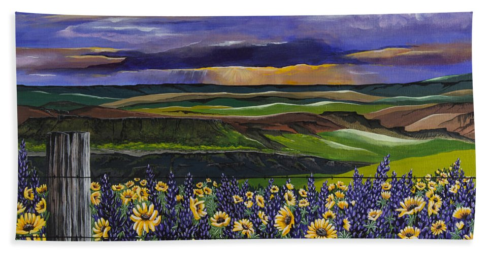 Color Hand Towel featuring the painting The Colors Of The Plateau by Jennifer Lake