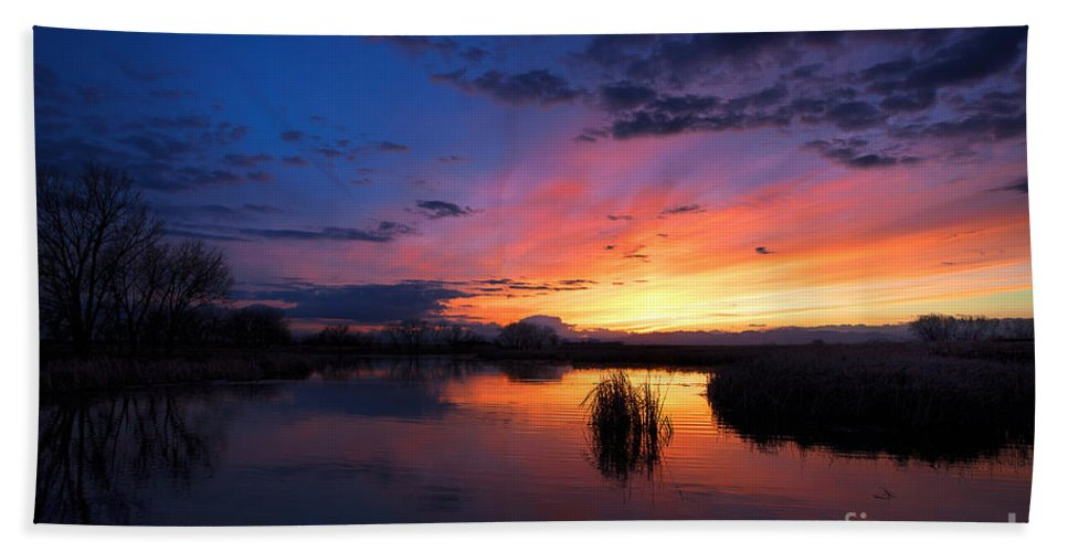 Rocky Mountain Arsenal Sunset Bath Sheet featuring the photograph The Cool Of The Evening by Jim Garrison