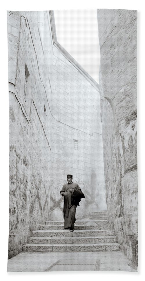 Jerusalem Hand Towel featuring the photograph The Coptic Priest by Shaun Higson