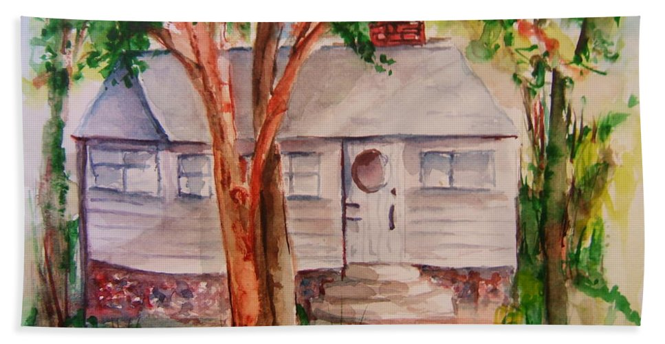 Lake Geneva Hand Towel featuring the painting The Cottage In The Highlands by Elaine Duras