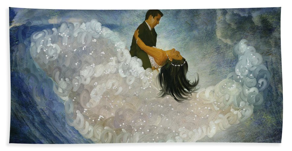 Dance Bath Sheet featuring the painting The Couple's First Dance by Angela Stanton