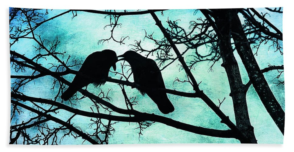 Crows Bath Sheet featuring the photograph The Courtship Of Crows by Tammy Wetzel