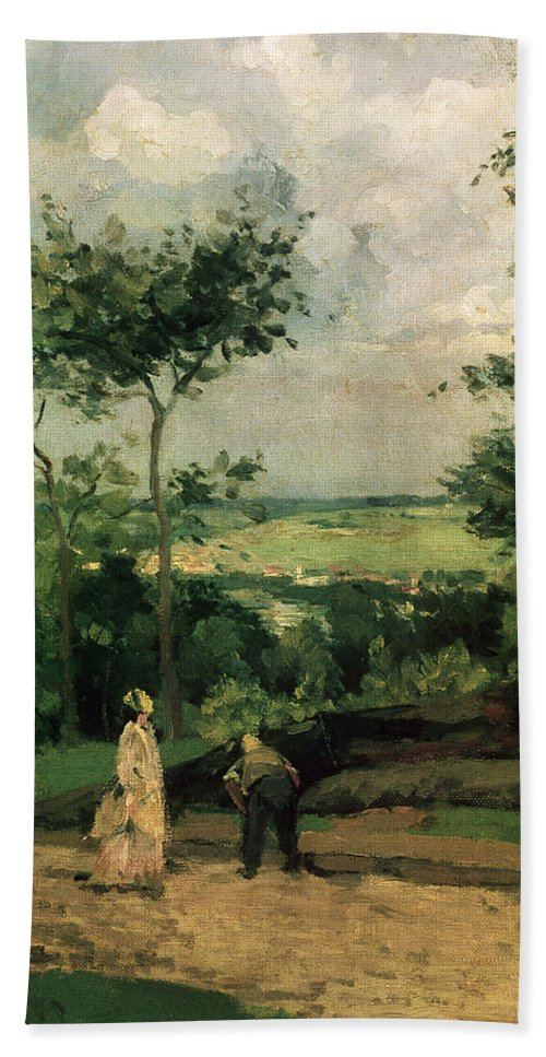 Impressionist Bath Sheet featuring the painting The Courtyard At Louveciennes by Camille Pissarro