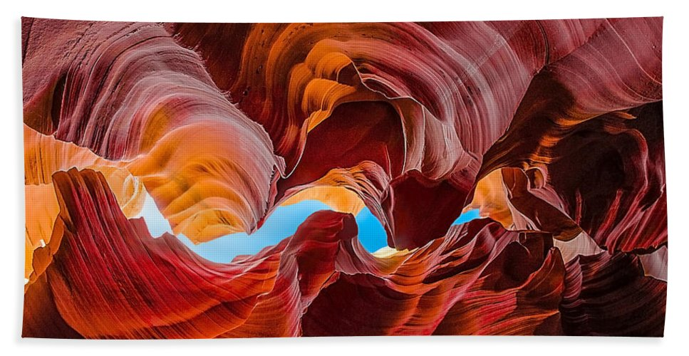 Antelope Canyon Hand Towel featuring the photograph The Crack In The Sky by Jason Chu