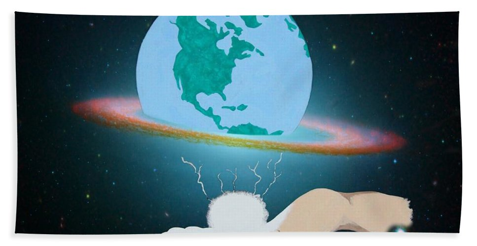 Earth Hand Towel featuring the painting The Creation by Davandra Cribbie