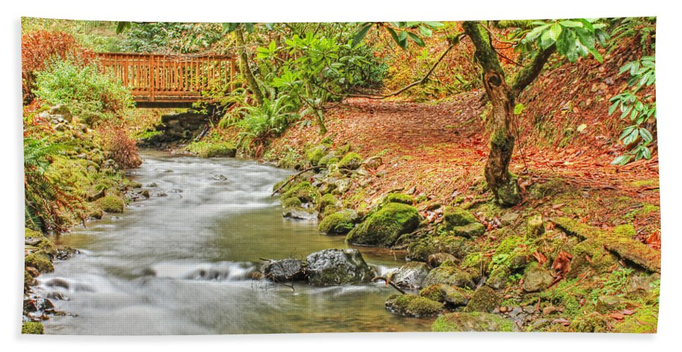 Moving Water Hand Towel featuring the photograph The Creek 0061 by Kristina Rinell