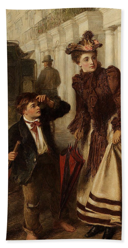 William Powell Frith Hand Towel featuring the digital art The Crossing Sweep by William Powell Frith