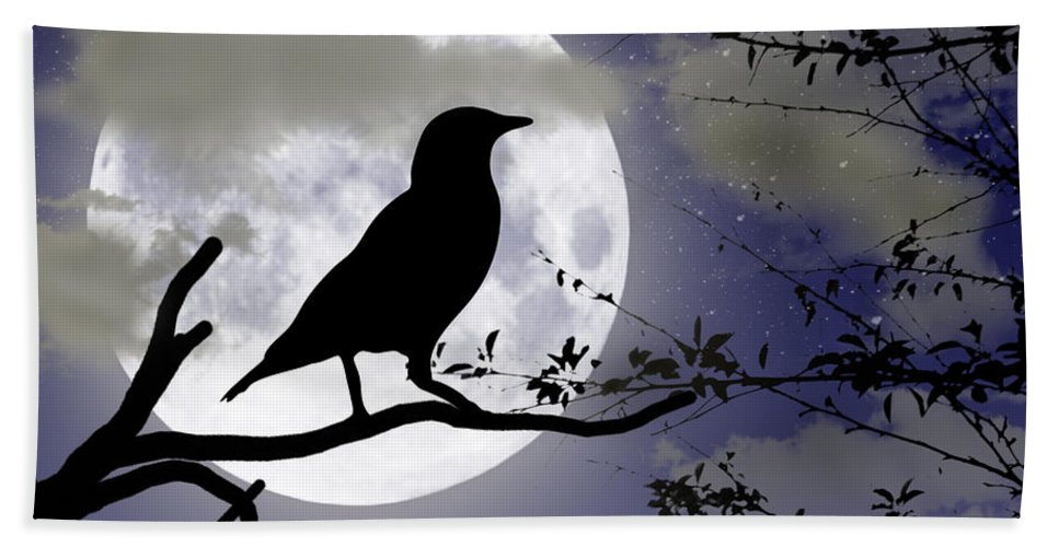 2d Bath Sheet featuring the digital art The Crow And Moon by Brian Wallace