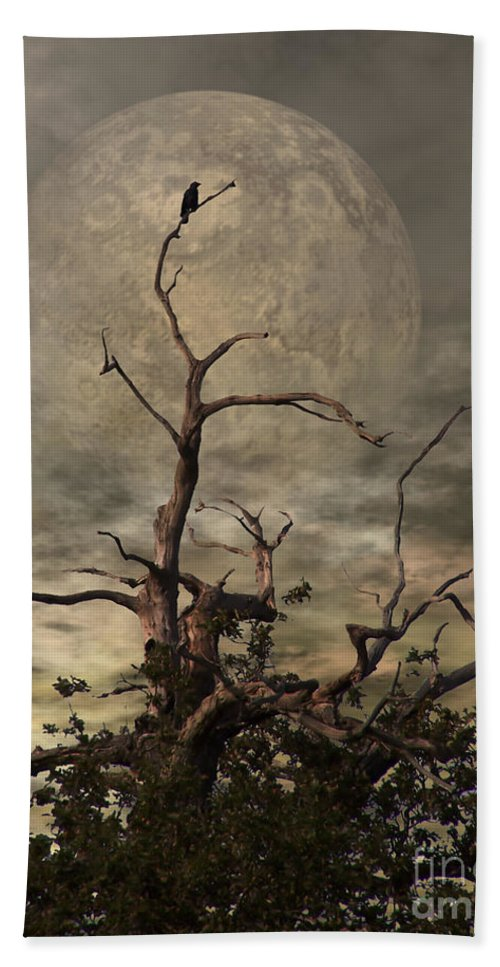 Crow Bath Towel featuring the digital art The Crow Tree by Abbie Shores