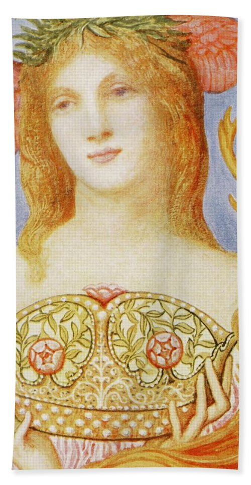 Female Bath Towel featuring the painting The Crown Of Peace by Sir William Blake Richmond