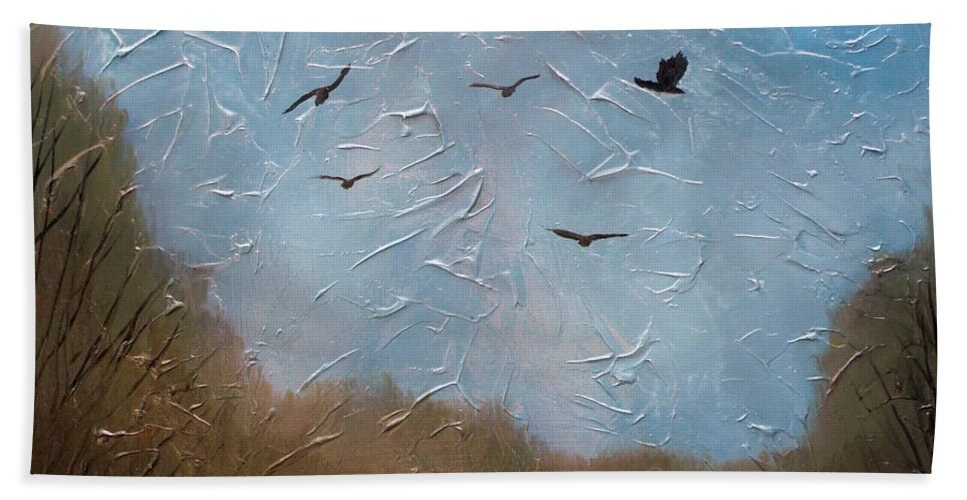 Landscape Bath Sheet featuring the painting The crows by Sergey Bezhinets