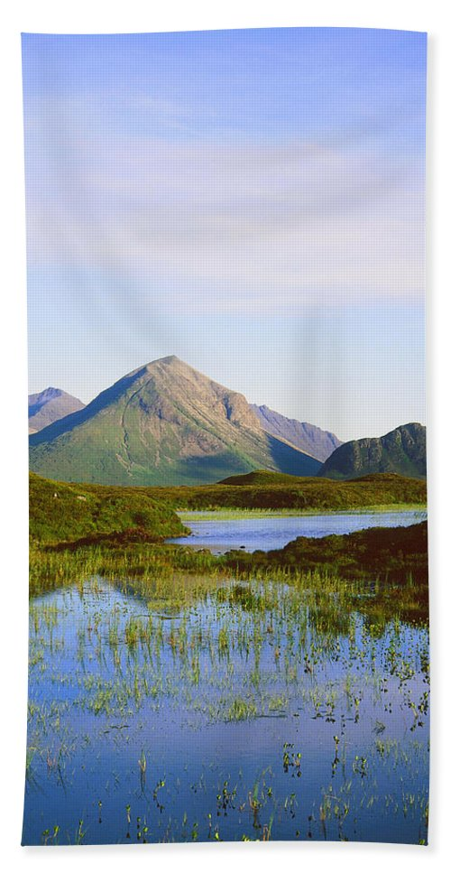 Landscape Hand Towel featuring the photograph The Cuillin Hills Of Skye In The Western Isles by Alex Cassels
