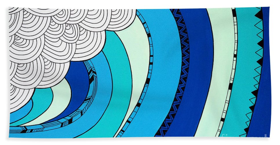 Sun Bath Sheet featuring the digital art The Curl by MGL Meiklejohn Graphics Licensing