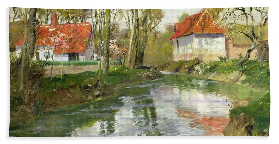 Landscape Bath Sheet featuring the painting The Dairy At Quimperle by Fritz Thaulow