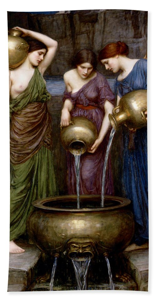 The Danaides Hand Towel featuring the digital art The Danaides by John William Waterhouse