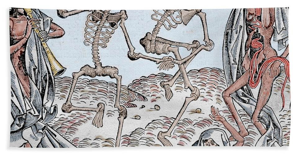 The Dance Of Death Bath Sheet featuring the drawing The Dance Of Death by Michael Wolgemut
