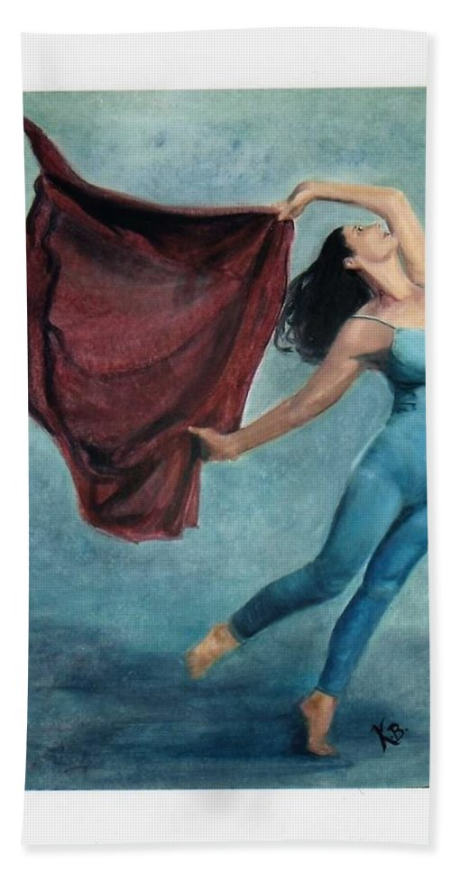 Dancer Hand Towel featuring the painting The Dancer by Katherine Berlin
