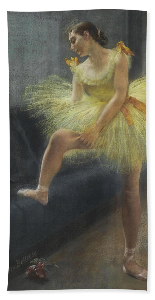 Pierre Carrier-belleuse Bath Sheet featuring the painting The Dancer by Pierre Carrier-Belleuse