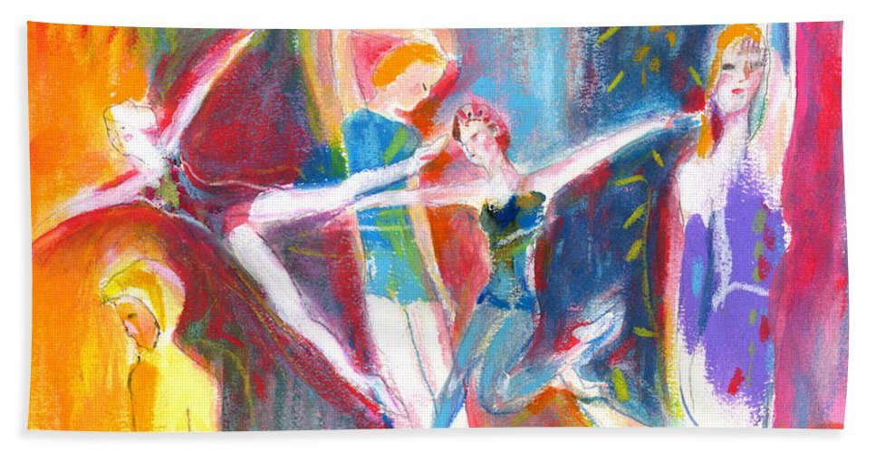 Dance Bath Sheet featuring the painting The Dancers by Mary Armstrong