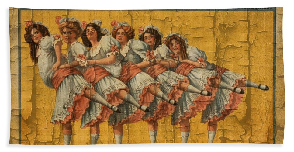 Hans And Nix Hand Towel featuring the digital art The Dancing Chicks by Ericamaxine Price