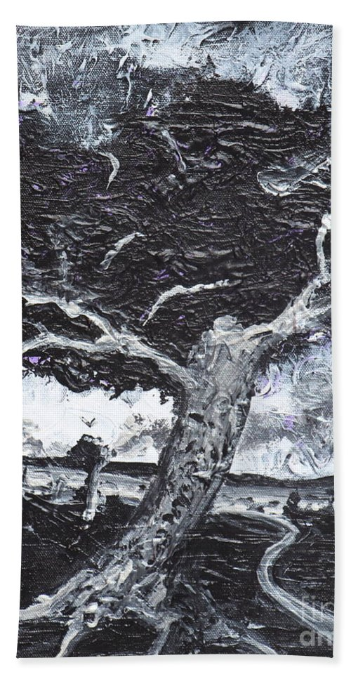 Landscape Hand Towel featuring the painting The Darkening Tree by Stefan Duncan