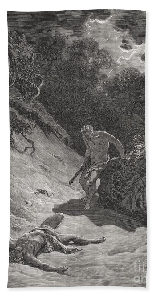 Cain Hand Towel featuring the painting The Death Of Abel by Gustave Dore