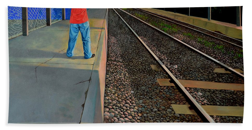 Railroad Hand Towel featuring the painting The Distance Of Solitude by Christopher Shellhammer