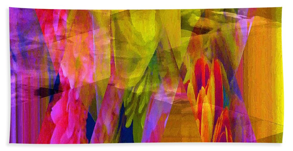Abstract Bath Sheet featuring the painting The Disturbance Of Memory by RC DeWinter