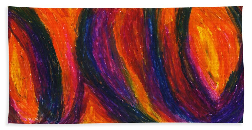 Abstract Hand Towel featuring the drawing The Divine Fire by Daina White