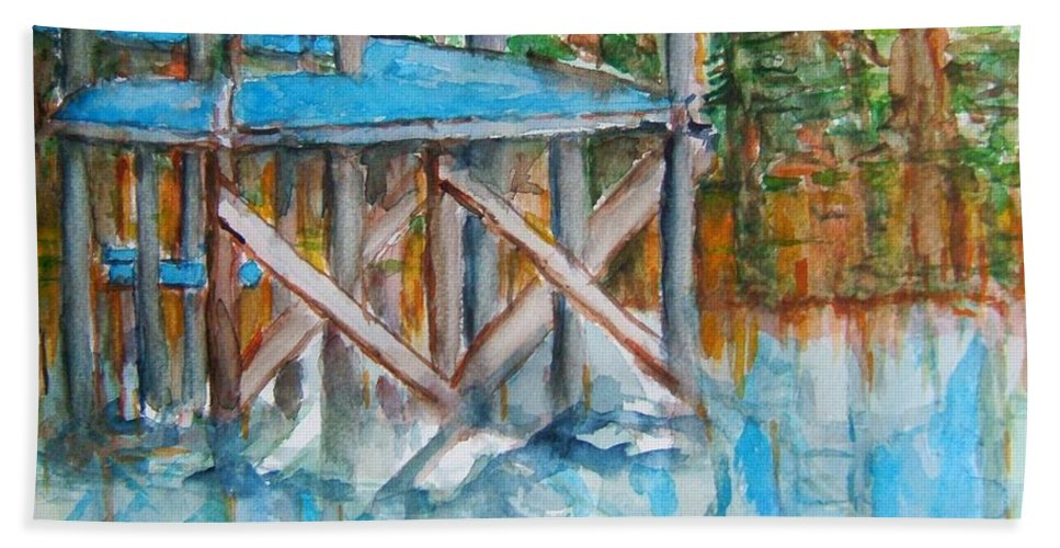 Blues Hand Towel featuring the painting The Dock by Elaine Duras