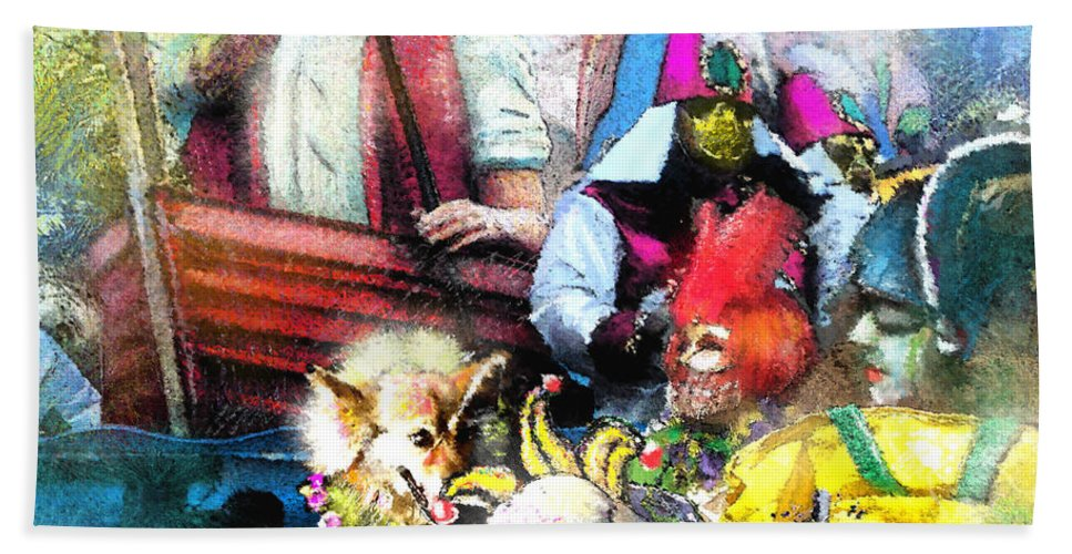 New Orleans Bath Sheet featuring the painting The Dogs Parade In New Orleans by Miki De Goodaboom