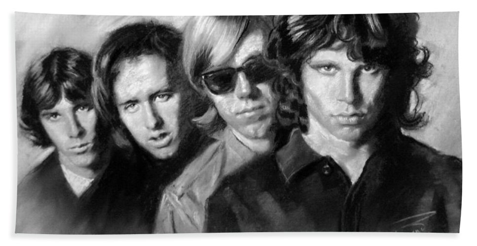 Jim Morrison Hand Towel featuring the drawing The Doors by Viola El