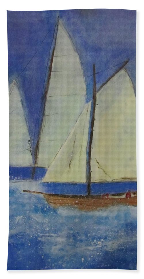 Yachts Hand Towel featuring the painting The Doreen by Elvira Ingram