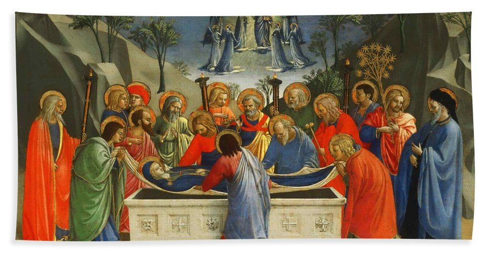 Fra Angelico Bath Sheet featuring the painting The Dormition Of The Virgin by Fra Angelico