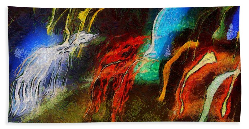 Abstract Bath Sheet featuring the painting The Dragons Of Desire by RC DeWinter