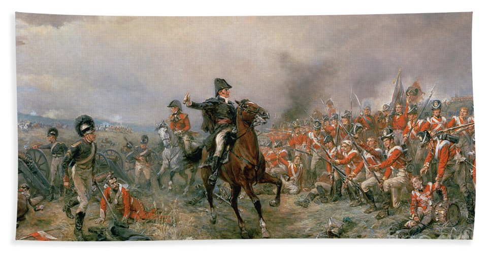 The Hand Towel featuring the painting The Duke Of Wellington At Waterloo by Robert Alexander Hillingford